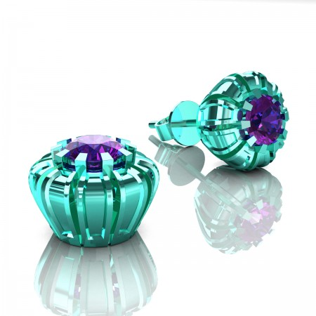 Modern-Eva-14K-Cyan-Gold-1-0-Ct-Amethyst-Crown-Stud-Earrings-E304P-14KCGAM-Art-Masters-Jewelry