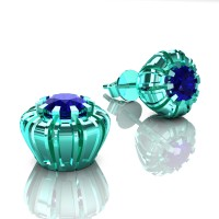 Modern 14K Cyan Gold 1.0 Ct Blue Sapphire Crown Stud Earrings E304-14KCGBS