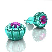 Modern 14K Cyan Gold 1.0 Ct Pink Sapphire Crown Stud Earrings E304-14KCGPS