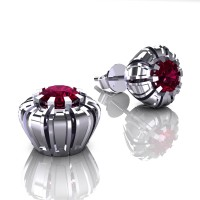 Modern 14K White Gold 1.0 Ct Garnet Crown Stud Earrings E304-14KWGG