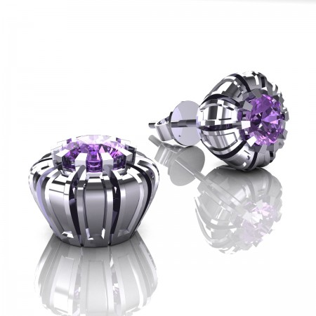 Modern-Eva-14K-White-Gold-1-0-Ct-Lilac-Amethyst-Crown-Stud-Earrings-E304P-14KWGLAM-Art-Masters-Jewelry