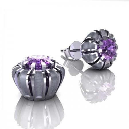 Modern-Eva-14K-White-Gold-1-0-Ct-Lilac-Amethyst-Crown-Stud-Earrings-E304P-14KWGSLAM-Art-Masters-Jewelry