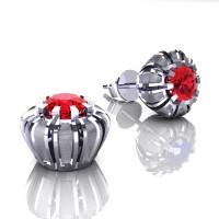 Modern 14K White Gold 1.0 Ct Ruby Crown Stud Earrings E304-14KWSGR