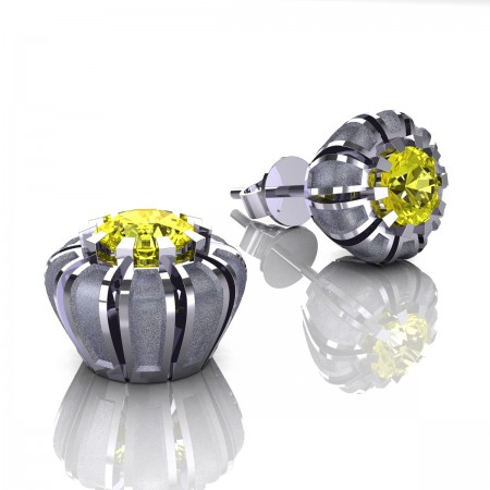 Modern-Eva-14K-White-Gold-1-0-Ct-Yellow-Sapphire-Crown-Stud-Earrings-E304P-14KWGSYS-Art-Masters-Jewelry