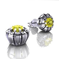 Modern 14K White Gold 1.0 Ct Yellow Sapphire Crown Stud Earrings E304-14KWGYS