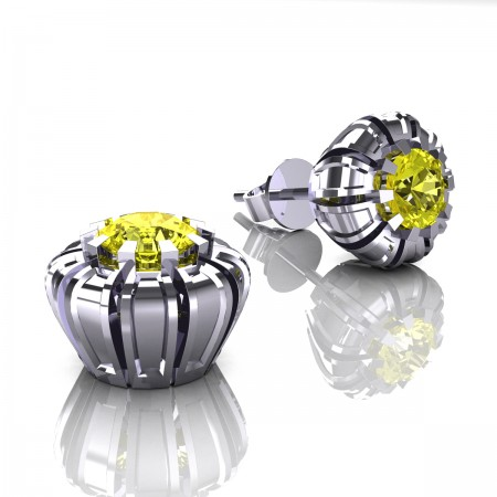 Modern-Eva-14K-White-Gold-1-0-Ct-Yellow-Sapphire-Crown-Stud-Earrings-E304P-14KWGYS-Art-Masters-Jewelry