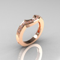 Classic 14K Rose Gold Diamond Flush Matching Wedding Band R301B-14KRGD