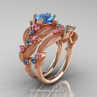 Nature Inspired 14K Rose Gold 1.0 Ct Blue Topaz Light Pink Sapphire Leaf and Vine Engagement Ring Wedding Band Set R340SS-14KRGLPSBT