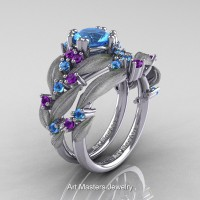 Nature Inspired 14K White Gold 1.0 Ct Blue Topaz Amethyst Leaf and Vine Engagement Ring Wedding Band Set R340SS-14KWGAMBT