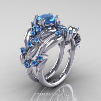 Nature Inspired 14K White Gold 1.0 Ct Blue Topaz Leaf and Vine Engagement Ring Wedding Band Set R340S-14KWGBT