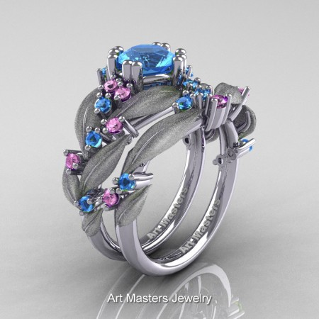 Nature-Classic-14K-White-Gold-1-0-Ct-Blue-Topaz-Light-Pink-Sapphire-Leaf-and-Vine-Engagement-Ring-Wedding-Band-Set-R340SS-14KWGLPSBT-P
