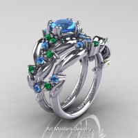 Nature Inspired 14K White Gold 1.0 Ct Blue Topaz Emerald Leaf and Vine Engagement Ring Wedding Band Set R340S-14KWGEMBT