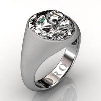 Modern Victorian 14K Matte White Gold Emerald Lion Signet Ring R375-14KWGMEM