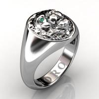 Modern Victorian 14K White Gold Emerald Lion Signet Ring R375-14KWGEM