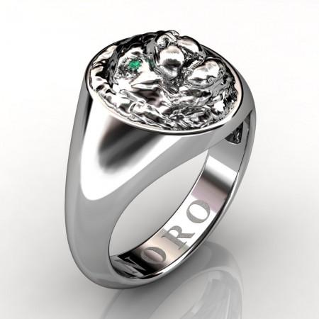Art-Masters-Victorian-Revival-14K-White-Gold-Emerald-Lion-Signet-Ring-R375-14KWGEM-P3