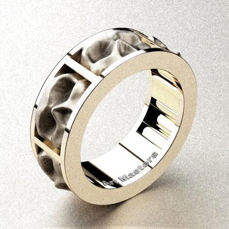 Mens-Modern-14K-Rose-Gold-Sandblast-Skull-Cluster-Wedding-Ring-R455-14KRGS-P