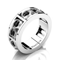 Mens Gothic Revival 14K White Gold Black Diamond Skull Channel Cluster Ring R453-14KWGSBD