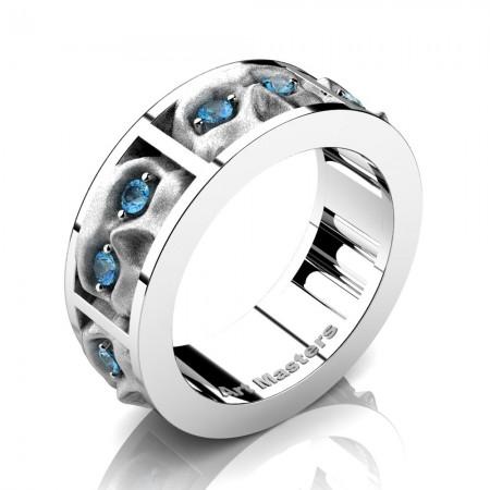 Mens-Modern-14K-White-Gold-Blue-Topaz-Sandblast-Skull-Cluster-Wedding-Ring-R453-14KWGSBT-P