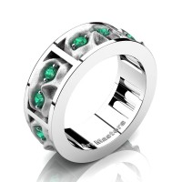 Mens Gothic Revival 14K White Gold Emerald Skull Channel Cluster Ring R453-14KWGSEM