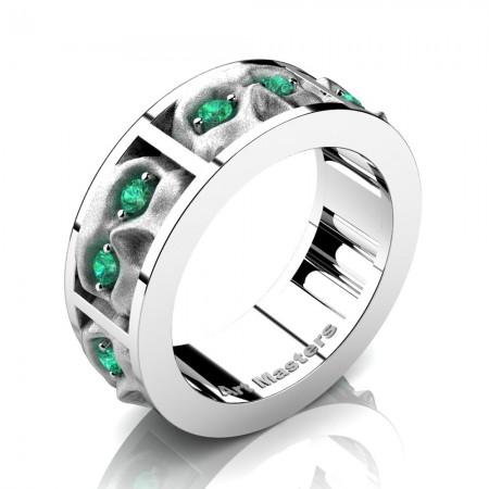 Mens-Modern-14K-White-Gold-Emerald-Sandblast-Skull-Cluster-Wedding-Ring-R453-14KWGSEM-P