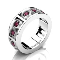Mens Gothic Revival 14K White Gold Ruby Skull Channel Cluster Ring R453-14KWGSRR