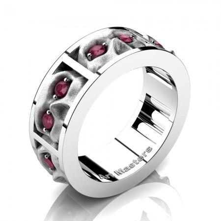 Mens-Modern-14K-White-Gold-Rose-Ruby-Sandblast-Skull-Cluster-Wedding-Ring-R453-14KWGSRR-P
