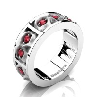 Mens Gothic Revival 14K White Gold Ruby Skull Channel Cluster Ring R453-14KWGSR