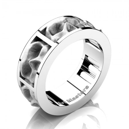Mens-Modern-14K-White-Gold-Sandblast-Skull-Cluster-Wedding-Ring-R455-14KWGS-P