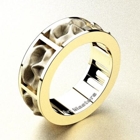 Mens-Modern-14K-Yellow-Gold-Sandblast-Skull-Cluster-Wedding-Ring-R455-14KYGS-P