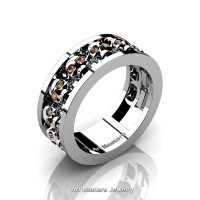 Mens Modern 925 Sterling Silver Champagne Diamond Skull Channel Cluster Wedding Ring R913-925SSCHD