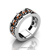 Mens Modern 925 Sterling Silver Orange Sapphire Skull Channel Cluster Wedding Ring R913-925SSOS