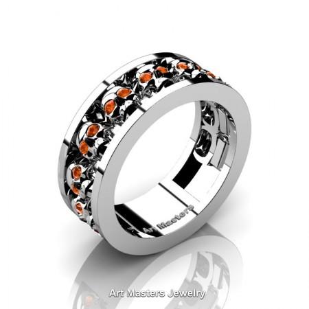 Mens-Modern-925-Sterling-Silver-Orange-Sapphire-Skull-Cluster-Wedding-Ring-Ring-R913-925SSOS-P