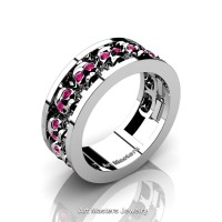 Mens Modern 925 Sterling Silver Pink Sapphire Skull Channel Cluster Wedding Ring R913-925SSPS