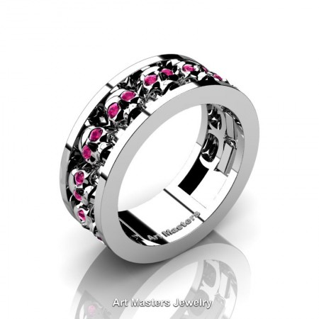Mens-Modern-925-Sterling-Silver-Pink-Sapphire-Skull-Channel-Cluster-Wedding-Ring-R913-925SSPS-P