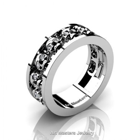 Mens-Modern-925-Sterling-Silver-White-Sapphire-Skull-Cluster-Wedding-Ring-Ring-R913-925SSWS-P