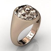 Modern Victorian 14K Matte Rose Gold Lion Signet Ring R375-14KRGM