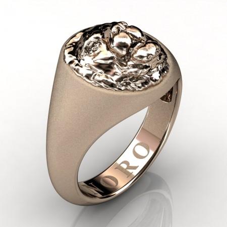Modern-Victorian-14K-Matte-Rose-Gold-Lion-Signet-Ring-R375-NORO-14KRGM