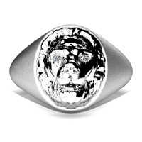 Modern Victorian 14K Matte White Gold Diamond Lion Signet Ring R375-14KWGMD