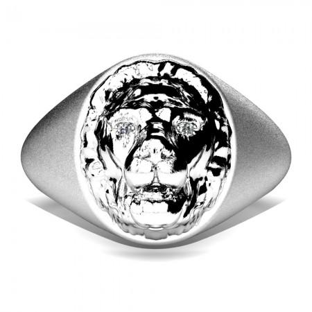 Modern-Victorian-14K-Matte-White-Gold-Diamond-Lion-Signet-Ring-R375-NORO-14KWGMD-TOP2