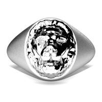 Modern Victorian 14K Matte White Gold Lion Signet Ring R375-14KWGM