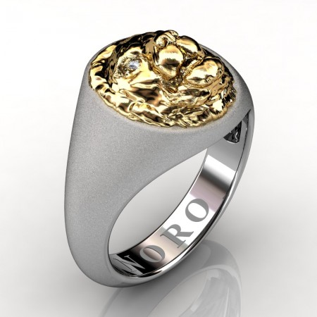 Modern-Victorian-14K-Matte-White-Yellow-Gold-Emerald-Lion-Signet-Ring-R375-NORO-14KWYGMDD