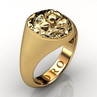 Modern Victorian 14K Matte Yellow Gold Diamond Lion Signet Ring R375-14KYGMD