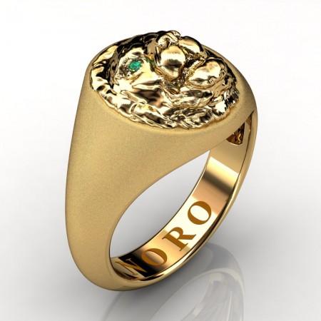 Modern-Victorian-14K-Matte-Yellow-Gold-Emerald-Lion-Signet-Ring-R375-NORO-14KYGMEM