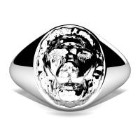 Modern Victorian 14K White Gold Lion Signet Ring R375-14KWG