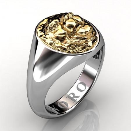 Modern-Victorian-14K-White-Yellow-Gold-Lion-Signet-Ring-R375R375-NORO-14KWYG
