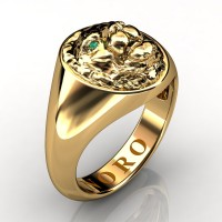 Modern Victorian 14K Yellow Gold Emerald Lion Signet Ring R375-14KYGEM