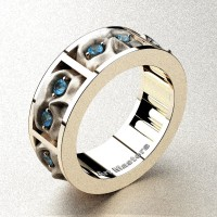 Mens Gothic Revival 14K Rose Gold Blue Topaz Skull Channel Cluster Ring R453-14KRGSBT
