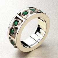 Mens Gothic Revival 14K Rose Gold Emerald Skull Channel Cluster Ring R453-14KRGSEM