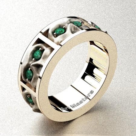 Revival-Gothic-14K-Rose-Gold-Emerald-Sandblast-Skull-Cluster-Wedding-Ring-R453-14KRGSEM-P