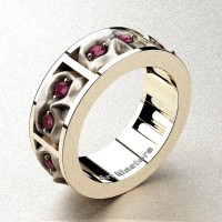 Mens Gothic Revival 14K Rose Gold Ruby Skull Channel Cluster Ring R453-14KRGSRR